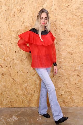 Nina Ricci Sheer Red Sheer Bardot Top