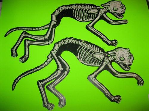 two vintage beistle skeleton cats rare