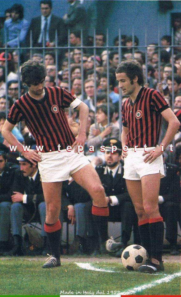 A.C. Milan Gianni Rivera e Luciano Chiarugi ... ⚽️ C'ero anch'io... http://www.tepasport.it/   Made in Italy dal 1952