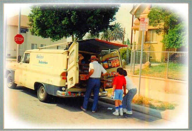 If you were lucky enough to live in Southern Calif. in the 50's and 60's you might have had the Helms Bakery truck drive down your street in the morning. The driver gave a couple whistles and we all ran out to the back of the truck, impatiently waiting for him to pull out those long, flat drawers full of warm donuts. It was always glazed for us kids. I still remember what a treat that was.