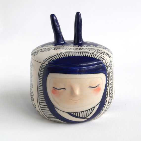 Lidded art vessel deep blue carved lacework bunny with by Belinism, $210.00