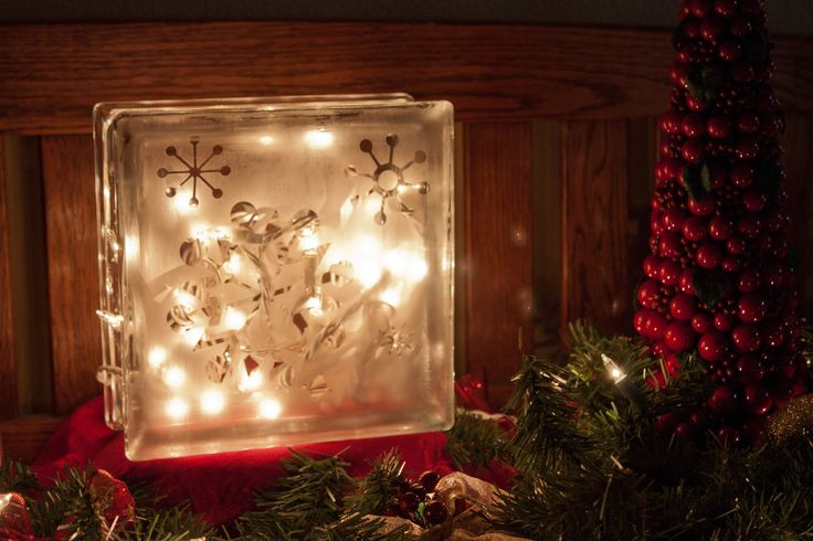 Glass tile block, glass etched, and filled with battery operated christmas lights