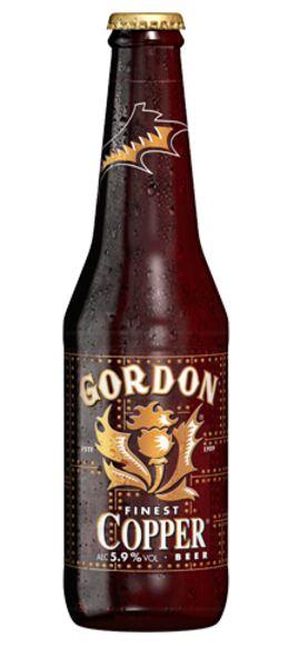 Cerveja Gordon Finest Copper, estilo Belgian Blond Ale, produzida por John Martin, Bélgica. 6.6% ABV de álcool.