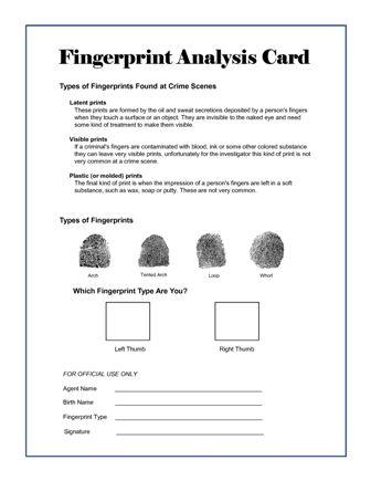 Annual Pack Campout??? Spy/CSI (Cub Scout Investigators) - CSI Party Theme - Secret Agent Training Fingerprint Analysis Card