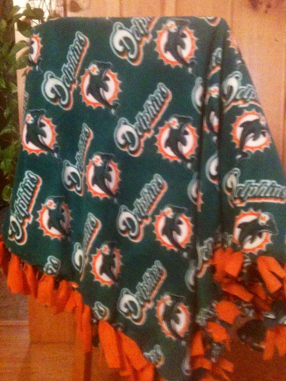Hand Tied Fleece  NFL Miami Dolphins Blanket/Throw by AbbieJude, $42.00