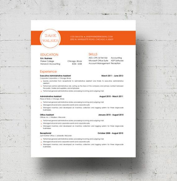 Looking for a professional resume template? The Jane Walker design is for you. The Jane Walker design is for you. The burnt orange colored banner is not