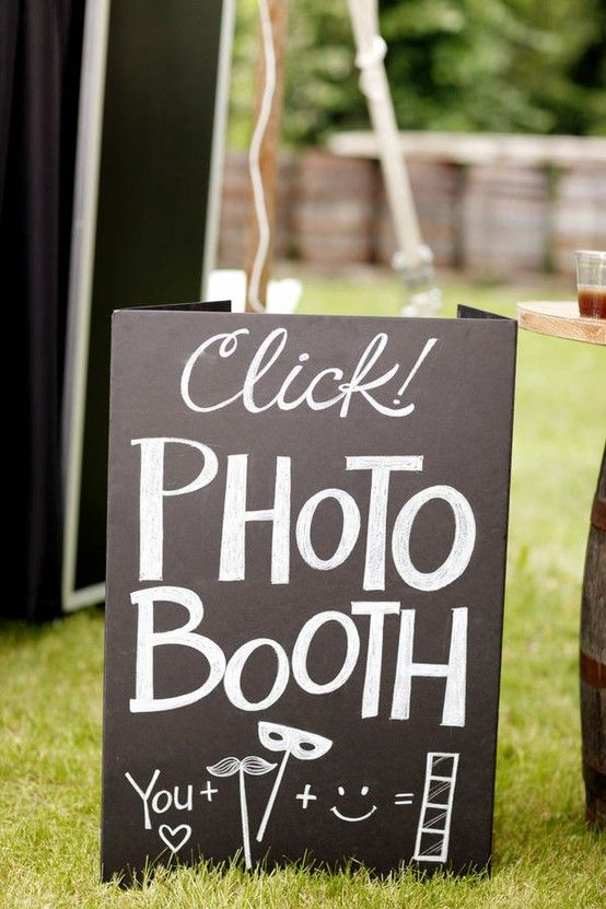 handmade wedding - photo booths allow the guest to take pictures while waiting for the bride, groom and wedding party to arrive from their pictures.