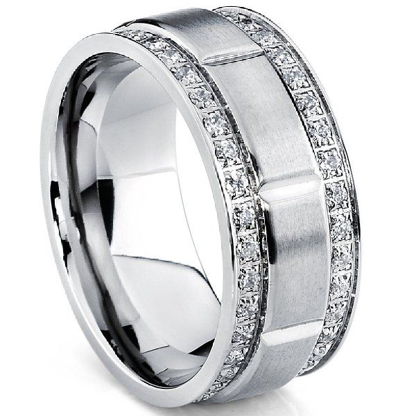 Mens Titanium Wedding Band Ring With Double Row Cubic Zirconia Comfort Fit Sizes 9MM