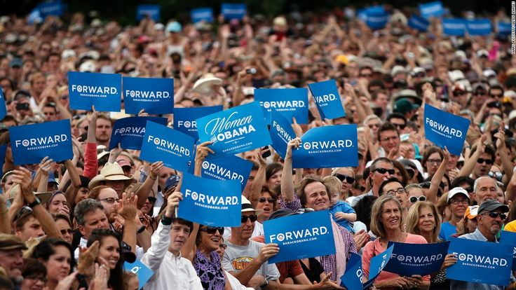 """Hillary Clinton Campaign Slogan   Supporters cheer and wave """"Forward"""" signs as President Barack Obama ..."""