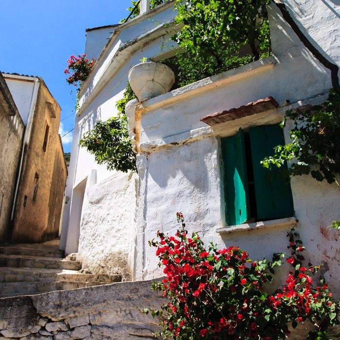 Village house and flowers scene in Lappa, Crete.