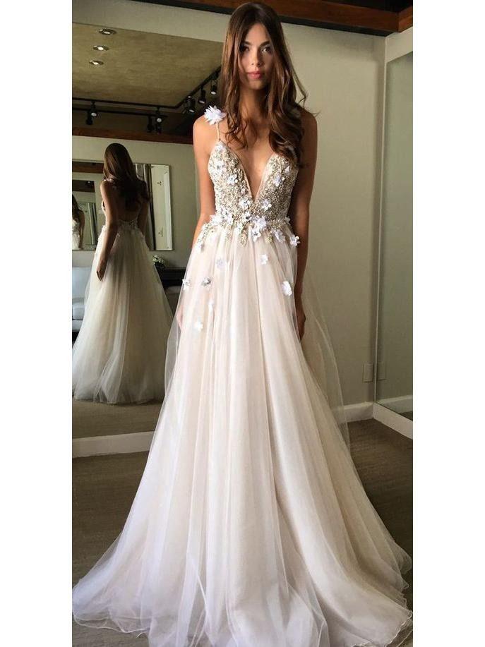 7f9f49ad0150 Ivory Tulle Beaded Wedding Dresses Spaghetti Strap V Neck Bridal Dress  AWD1311 $289.99 $219.99