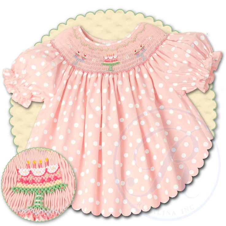 Birthday Cake Pink Polka Smocked Bishop 13SS 4655A