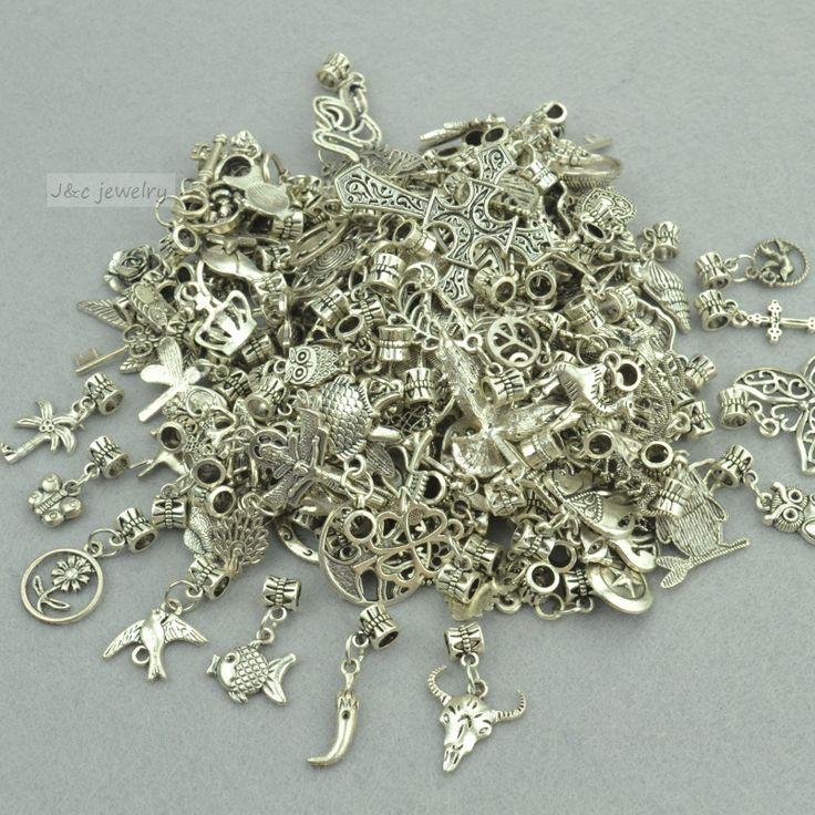 New 50pcs mixed wholesale metal charms tibetan silver big hole bead charm pendants fits European bracelets jewelry making 3121