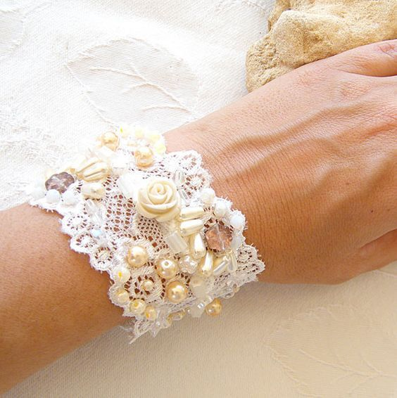 Wedding charm beaded Bracelet , embroidered hand made,  vintage embroidery lace bracelet.. $54.00, via Etsy.: