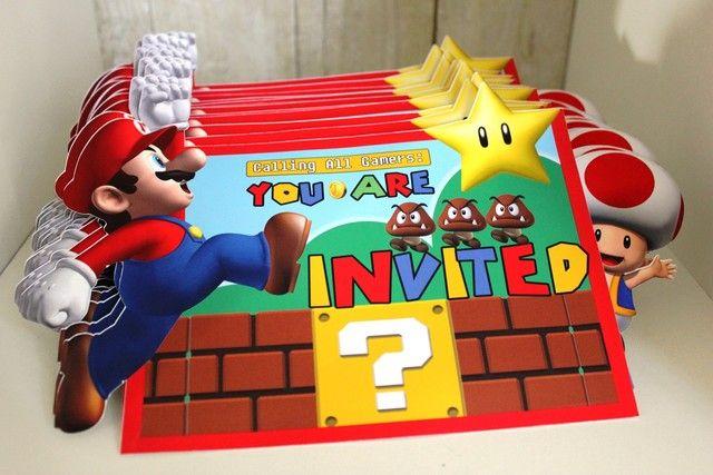 Invites at a Super Mario Bros Party #supermariobros #party