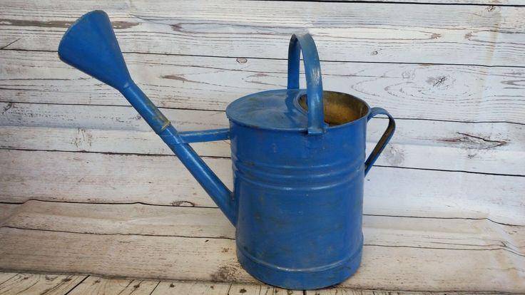 Old Vintage Hand Painted Blue Garden Sprinkler Watering Can Rustic Decor 6637   eBay