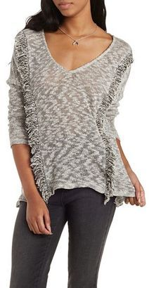 Marled Sweater Knit Fringe Top - Shop for women's Sweater - Heather Gray Sweater
