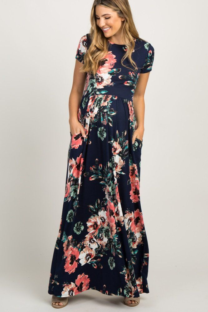 8443efb4262e3 Navy Blue Floral Short Sleeve Maternity Maxi Dress in 2019 | I'd ...