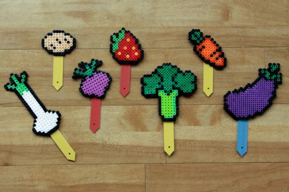 Perler Bead Fruit and Vegetable Garden Markers by madebyclairelouise