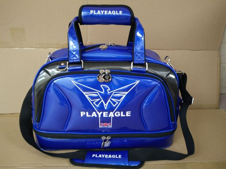PLAYEAGLE Pre Sale High Quality Waterproof Blue White Pu Leather Golf Clothing Bag with Shoes Pocket Golf Boston Bag