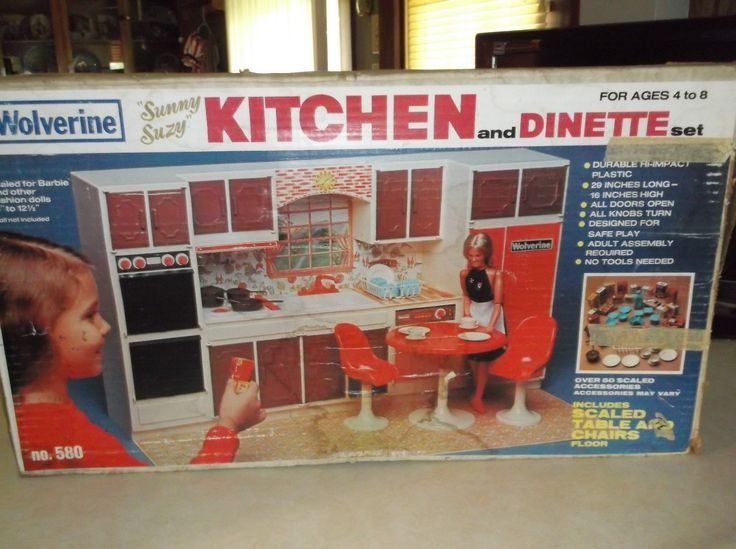 """Wolverine Sunny Suzy Kitchen Set, 1970's (Measures 29"""" L x 16"""" H) - I bought this set on E-Bay. It is missing the table, chairs and accessories, but the kitchen unit itself is in great condition."""