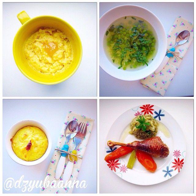 Комплекс 28 Завтрак: кукурузная каша Обед: супчик с зеленым горошком и фигурной вермишелью Полдник: творожно-морковная запеканка Ужин: курочка, томленая с овощами и запеченный баклажан