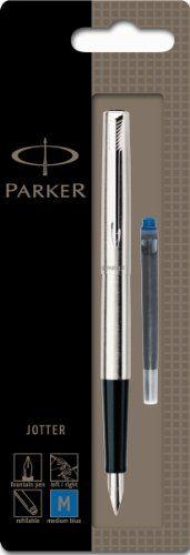 From 10.99 Parker Jotter Stainless Steel Chrome Trim Fountain Pen Medium Nib (blister Pack)