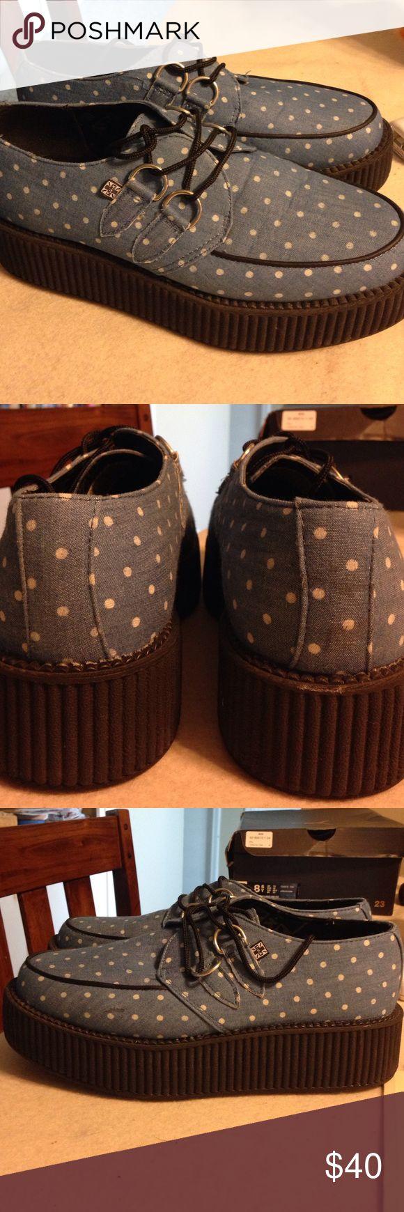 TUK Creepers. Denim polka dots. Denim upper with white polka dots. 2 inch platform. t.u.k Shoes Platforms