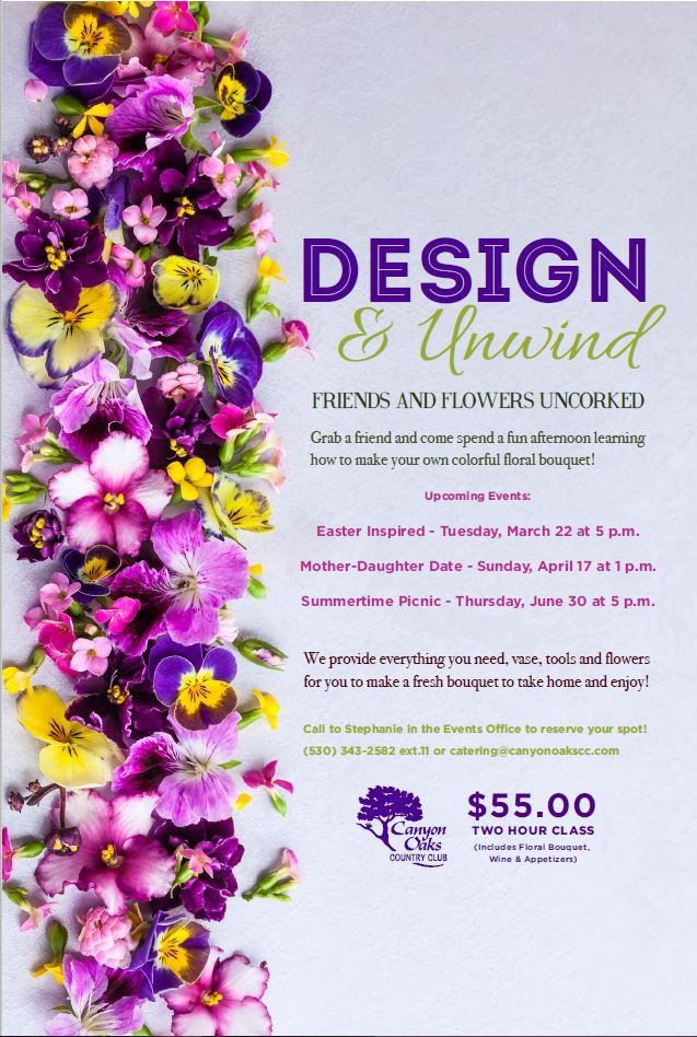 Design and Unwind, Floral Class event flyer poster ...
