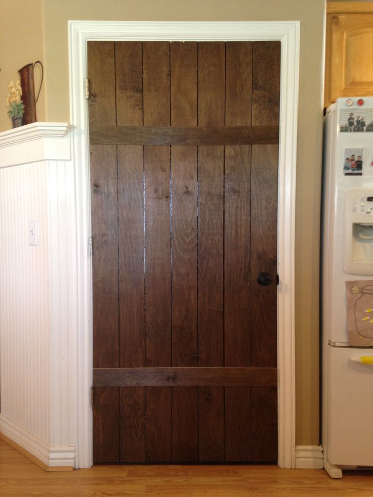 "Excellent idea...... 1/4"" thick plywood cut into 4"" wide planks & adhered over existing door......cottage look for all of my interior doors & change hardware; paint them the palest shade of gray (very cost effective!)"