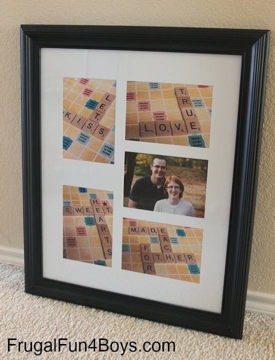 DIY Scrabble Photo Collage. we can make one with us! except obvi not an engagement one. we could put the pets in it as well!
