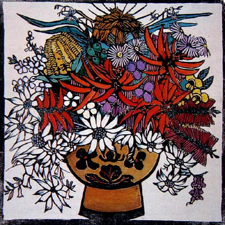 Margaret Preston   Woodblock  'Mixed Native Flowers'