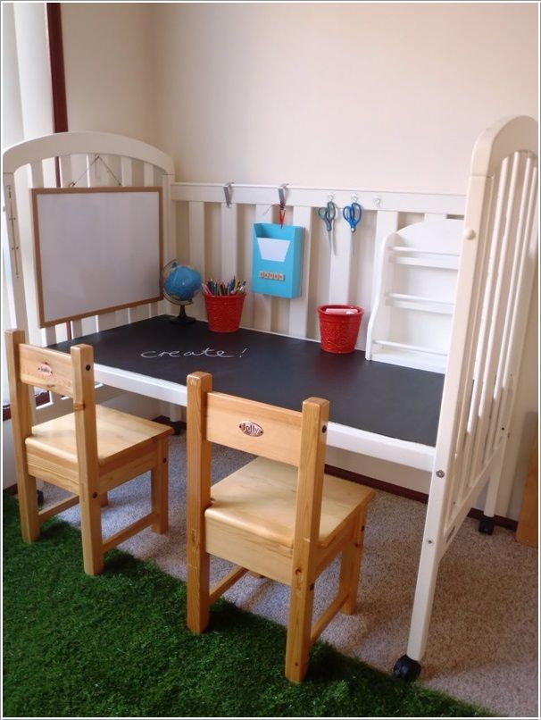 Brilliant play table for your kids. -28 Inspirational Ways How to Repurpose Old Baby's Cribs