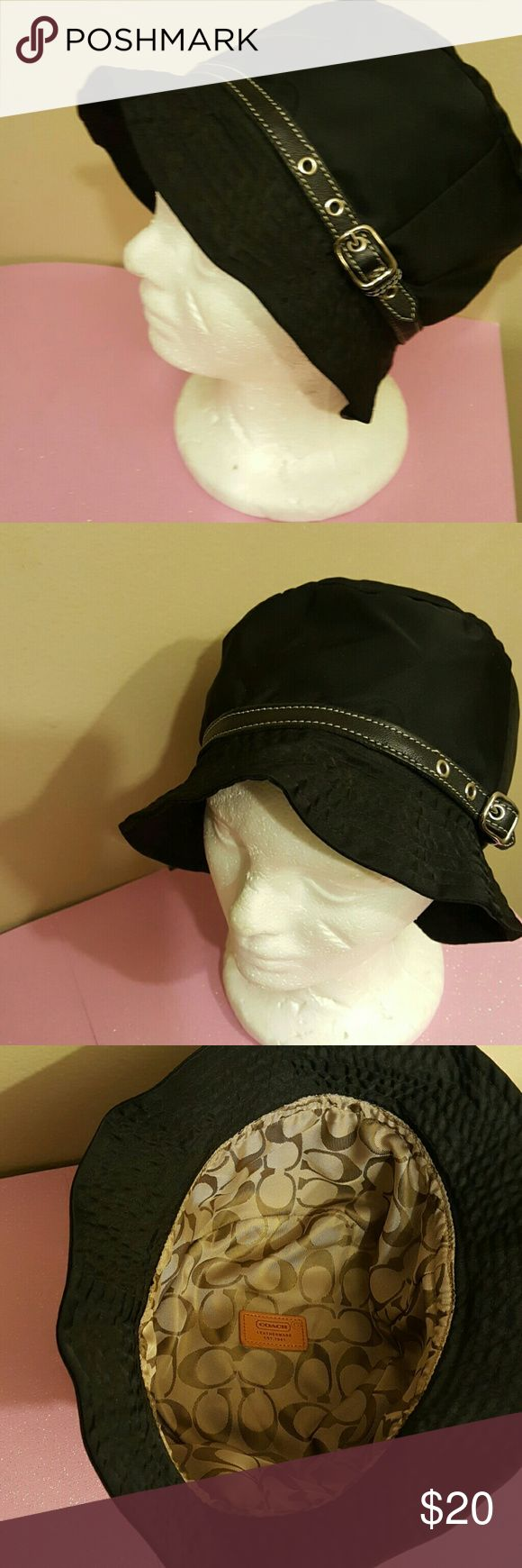 Coach hat Black hat with leather and silver tone hardware. Purchased at oulet store more than 5 years ago. Wore three times for gatherings . Inside tag was cut off because I wore it inside out on one occasion. No box, a Coach dust bag will be included. Coach Accessories Hats