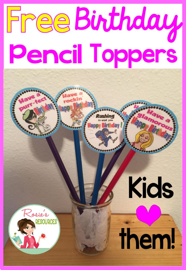 Want a quick and easy way to wish your students Happy Birthday? Try these free birthday pencil toppers. From Rosie's Resources.