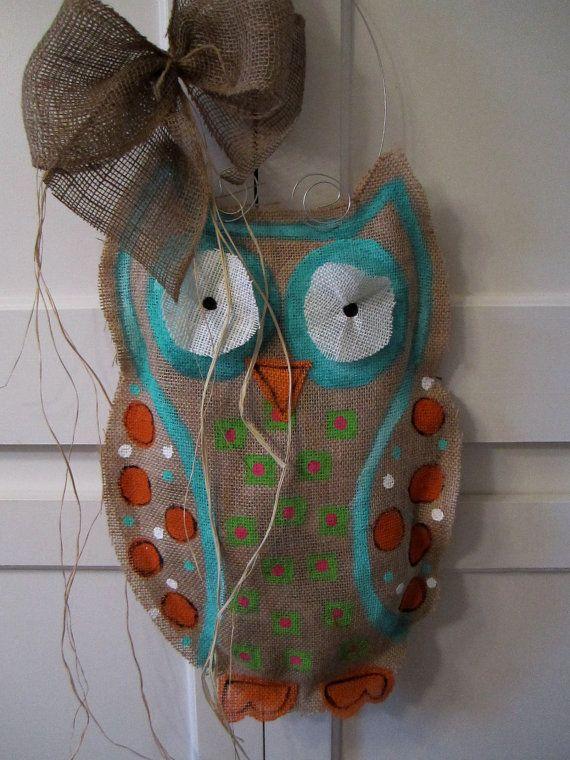 Owl Burlap Door Hanger Door Decoration By Nursejeanneg On
