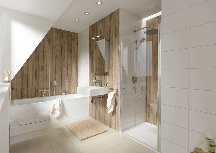 Houtlook panelen in de badkamer in plaats van tegels