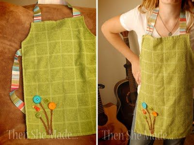 dish towel aprons (adorable! Think of all the choices) Only a little bit of sewing, so I could probably just sew it by hand...