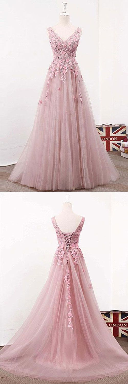 Pink v neck tulle lace long prom dress, pink evening dress, pink bridesmaid dress