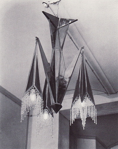 Josef Gočár, chandelier, 1913-4. Contemporary photo. Source: 1909-1925 Kubismus in Prag.