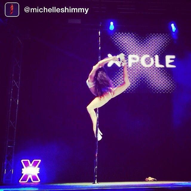 Beautiful shot of Michelle Shimmy performing at Pole Theatre UK. #badkittypride #xpolelife #poletheatreuk