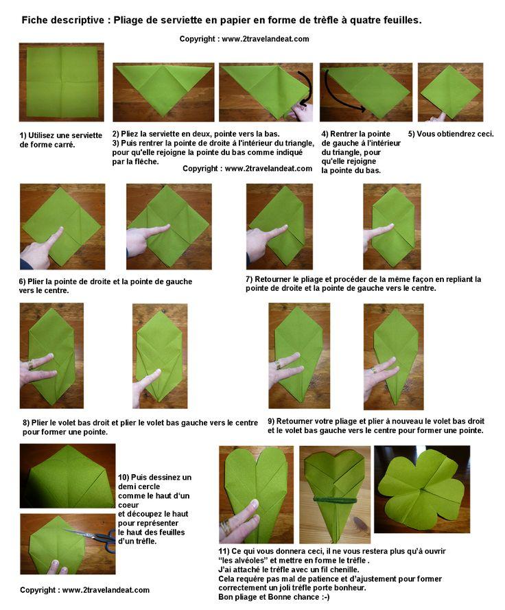 Les 25 meilleures id es de la cat gorie tr fle quatre feuilles sur pinteres - Pliage serviette forme feuille ...