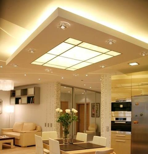 Suspended ceiling with both up-lighting and a lightbox in the middle for down lighting. #design #ideas #ceiling