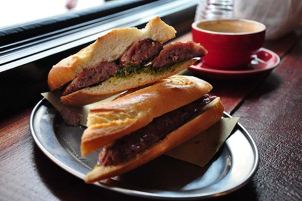 'Argentino' bocadillo ($9.50) with South American sausage and chimichurri at Encasa Deli.   www.goodfood.com.au