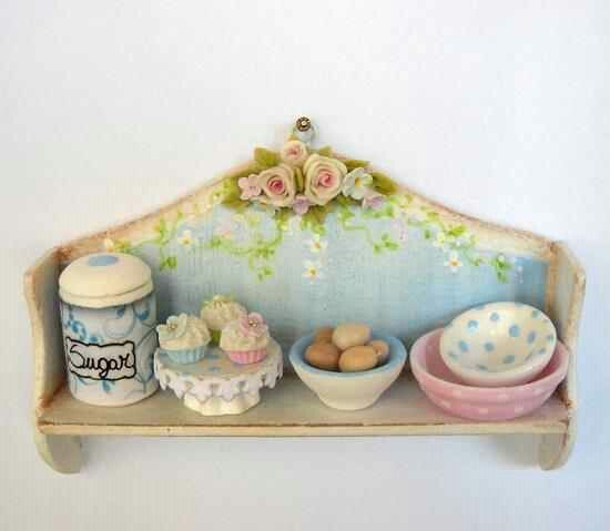 1/12TH scale - shabby chic kitchen shelf with accessories by Lory