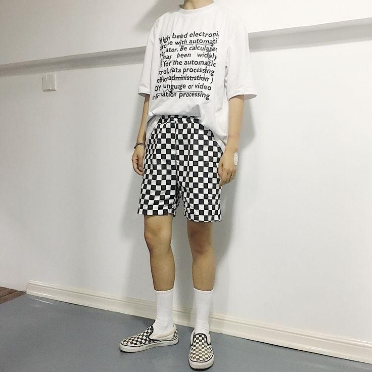 2017 New Retro Black White Checkerboard Street Harajuku Women Shorts - MISS LADIES