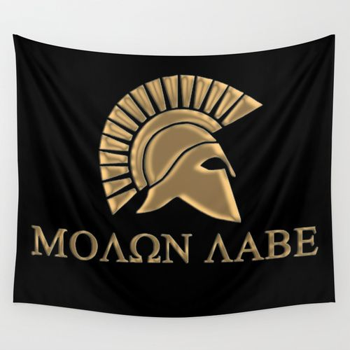 Molon lave-Spartan Warrior Wall Tapestry