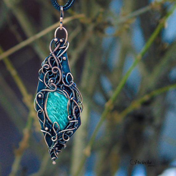 Amazonite Pendant Necklace by Pociecha Bohemian by POCIECHAjewelry