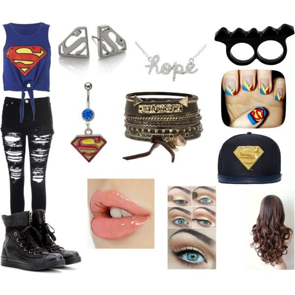 Superman by arigatou-tomodachi on Polyvore featuring Glamorous, Converse, L'Artisan Créateur, Noir and BKE