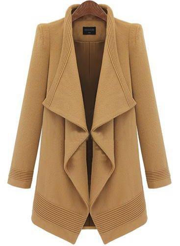 Camel Lapel Long Sleeve Belt Woolen Coat